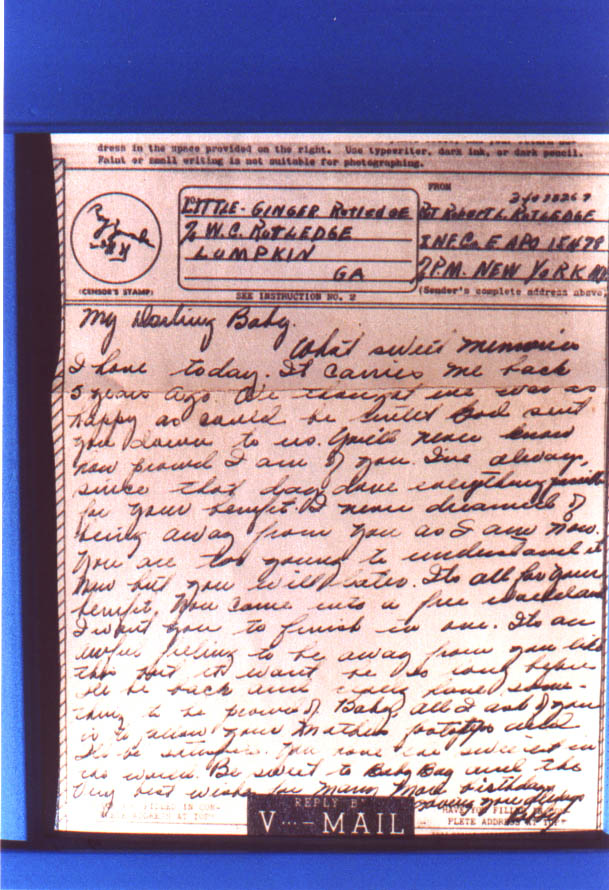 image of v-mail letter